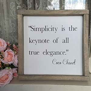 Simplicity Gray Wood Frame Signboard Coco Chanel